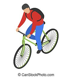 Man bike delivery icon, isometric style