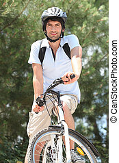 man biking