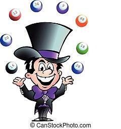 man, bingo, jonglera