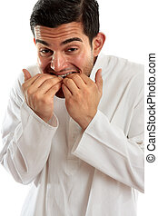 Man biting fingernails anxiety stress or terrified - An ...