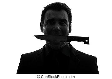 man biting knife silhouette