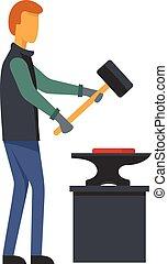 Man blacksmith icon, flat style