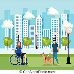 man blind with dog and woman sitting in wheelchair