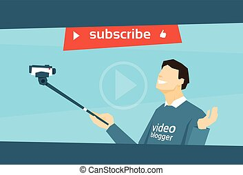 Man Blogger Hold Camera Tripod Video Blog