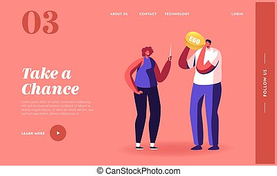 Man Blowing Ego Balloon Landing Page Template. Woman Hold Sharp Needle Prepare to Pin. Male and Female Characters Get Rid of Egoism, Self Confidence and Narcissism. Cartoon People Vector Illustration