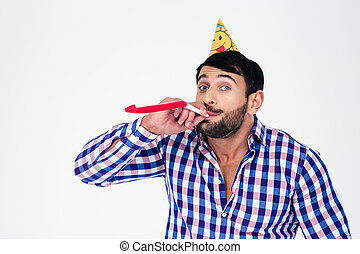Man blowing in whistle