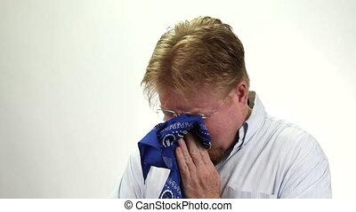 Man Blowing Nose Bandanna