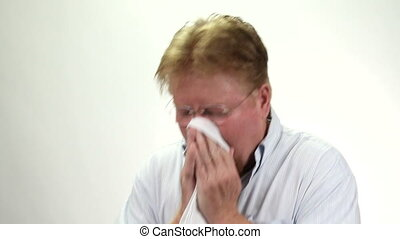 Man Blowing Nose Handkerchief