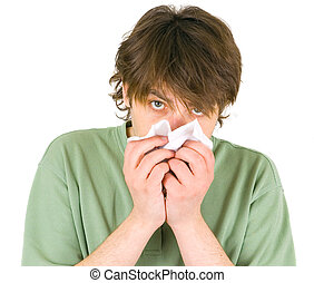 man blowing nose with handkerchief