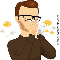Man Blowing Nose With Tissue