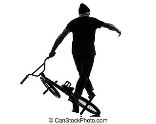 man bmx acrobatic figure silhouette - one caucasian man...