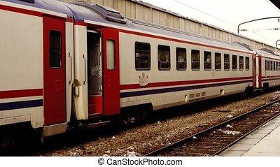 Man boarding train