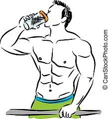MAN BODY BUILDER DRINKING ILLUSTRATION