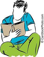 man, boek, jonge, illustratie, lezende