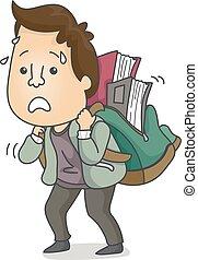 Man Books Bag Adult Learner Illustration - Illustration...