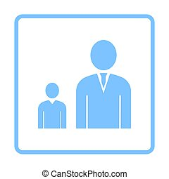 Man Boss With Subordinate Icon. Blue Frame Design. Vector...