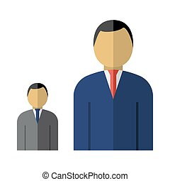 Man Boss With Subordinate Icon. Flat Color Design. Vector...