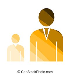 Man Boss With Subordinate Icon. Flat Color Ladder Design....