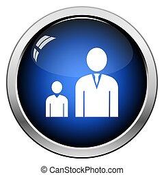 Man Boss With Subordinate Icon. Glossy Button Design. Vector...