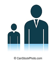 Man Boss With Subordinate Icon. Shadow Reflection Design....