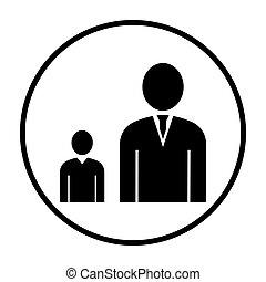 Man Boss With Subordinate Icon. Thin Circle Stencil Design....