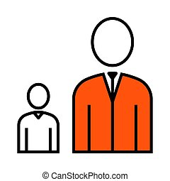 Man Boss With Subordinate Icon. Thin Line With Orange Fill...