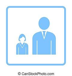 Man Boss With Subordinate Lady Icon. Blue Frame Design....