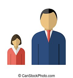 Man Boss With Subordinate Lady Icon. Flat Color Design....