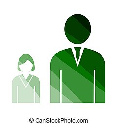 Man Boss With Subordinate Lady Icon. Flat Color Ladder...