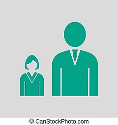 Man Boss With Subordinate Lady Icon. Green on Gray...