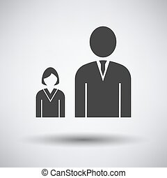 Man Boss With Subordinate Lady Icon on gray background,...