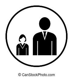 Man Boss With Subordinate Lady Icon. Thin Circle Stencil...