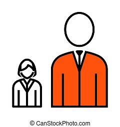 Man Boss With Subordinate Lady Icon. Thin Line With Orange...