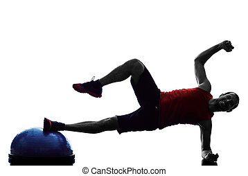 man bosu balance trainer  exercises fitness