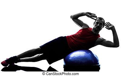 man bosu balance trainer exercises silhouette