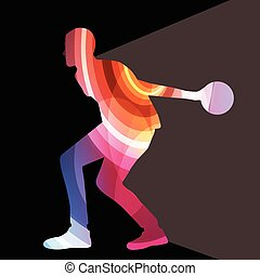 Man bowler bowling silhouette illustration background ...
