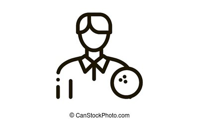 Man Bowling Gamer Icon Animation. black Man Bowling Gamer animated icon on white background