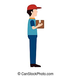 Delivery man red hat shipping woman service box vector ...