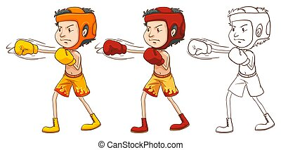 Man boxing in three different drawing styles