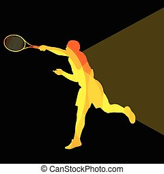 Man, boy tennis silhouette background colorful concept