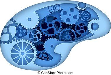 Man brain with gears inside
