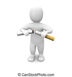 Man breaking cigarette. 3d rendered illustration. Isolated...