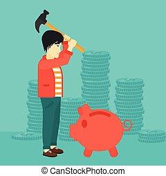 Man breaking piggy bank.