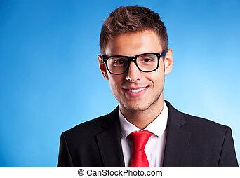 man, bril, het glimlachen, zakelijk