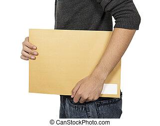 Man bring the brown envelope