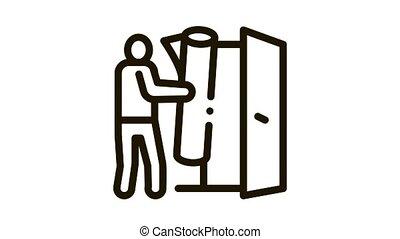 man bringing carpet to apartment Icon Animation. black man bringing carpet to apartment animated icon on white background