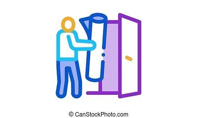 man bringing carpet to apartment Icon Animation. color man bringing carpet to apartment animated icon on white background