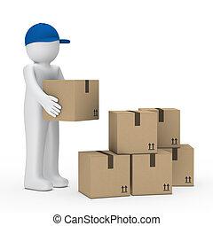 man brown package - man with blue cap stack brown package