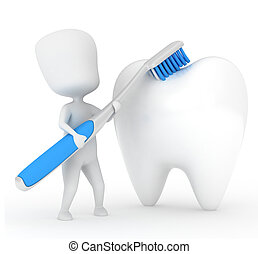 Man Brushing a Tooth - 3D Illustration of a Man Brushing a...