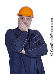 Man builder in working clothes